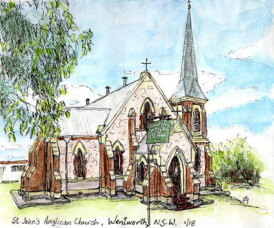 Drawing - St John's Anglican Church by Anne Huth