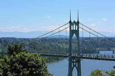Photograph - St Johns Bridge And Mount Hood by David Gn