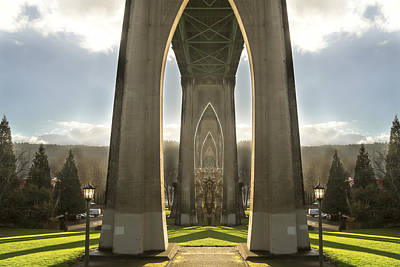 St Johns Bridge In Portland Art Print by Jean Noren