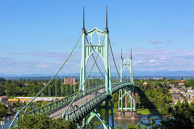 Photograph - St Johns Bridge Over Willamette River by David Gn