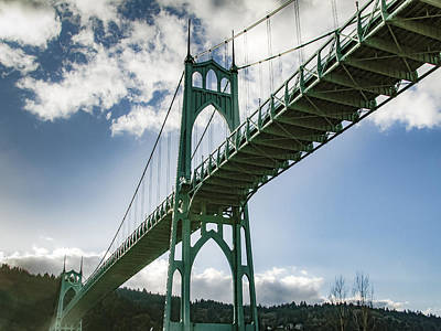 Photograph - St Johns Bridge Over Willamette River by Jean Noren
