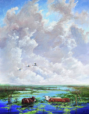 Art Print featuring the painting St. John's Cows by AnnaJo Vahle