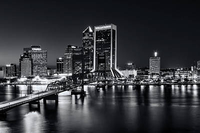 Photograph - St Johns River Skyline By Night, Jacksonville, Florida In Black And White by Kay Brewer