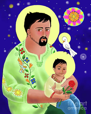 Painting - St. Joseph And Jesus - Mmjaj by Br Mickey McGrath OSFS