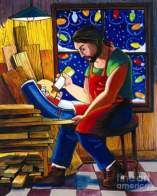 Painting - St. Joseph And Son's Christmas - Mmsjs by Br Mickey McGrath OSFS