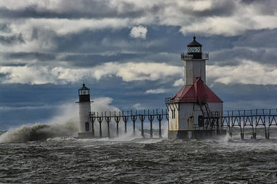 Photograph - Big Waves - St. Joseph Lighthouse by Gej Jones