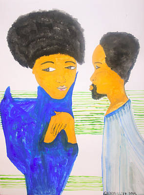 St Joseph Meets St Mary For The First Time In The Temple Art Print by Gloria Ssali