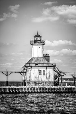 St. Joseph Michigan Lighthouse In Black And White Print by Paul Velgos