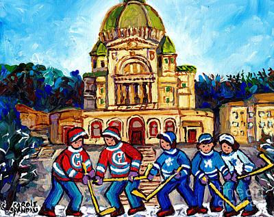 Painting - St Joseph Oratory Queen Mary Rd School Hockey Practice Montreal Winter Scene Art Carole Spandau      by Carole Spandau
