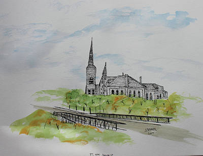 St Joseph Parish Art Print by Jack G Brauer