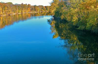 St. Joseph River View In Autumn     Indiana Art Print by Rory Cubel