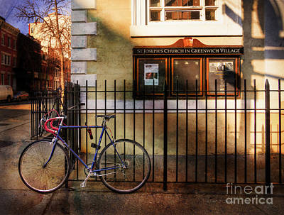 Art Print featuring the photograph St. Joseph's Church Bicycle by Craig J Satterlee
