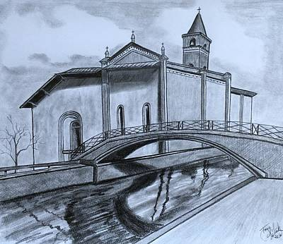 Drawing - St. Jules Cathedral  by Tony Clark