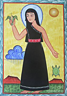 Painting - St. Kateri Tekakwitha - Aokak by Br Arturo Olivas OFS