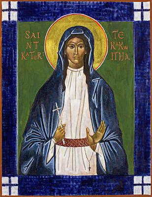 Wall Art - Painting - St. Kateri Tekakwitha Icon by Jennifer Richard-Morrow