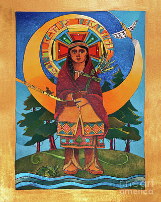 Painting - St. Kateri Tekakwitha - Mmtkk by Br Mickey McGrath OSFS