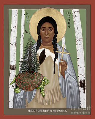 Painting - St. Kateri Tekakwitha Of The Iroquois - Rlktk by Br Robert Lentz OFM