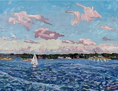 St. Lawrence River Painting - St Lawrence Sails by Phil Chadwick