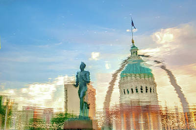 Capitol Building Digital Art - St. Louis Abstract - Waterscape Photography by Gregory Ballos