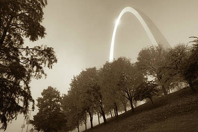 Photograph - St. Louis Arch Behind The Trees - Sepia by Gregory Ballos