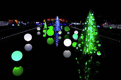 Photograph - St Louis Botanical Gardens Christmas Lights Study 1 by Robert Meyers-Lussier