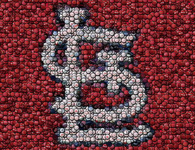Saint Louis Mixed Media - St. Louis Cardinals Bottle Cap Mosaic by Paul Van Scott