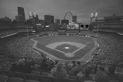 Photograph - St. Louis Cardinals Busch Stadium Black White Creative 10 by David Haskett