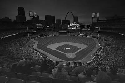 Photograph - St. Louis Cardinals Busch Stadium Black White Creative 11 by David Haskett