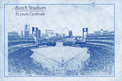 Photograph - St. Louis Cardinals Busch Stadium Blueprint Names by David Haskett II