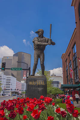 St. Louis Cardinals Busch Stadium Stan Musial Roses Art Print by David Haskett