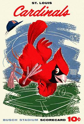 St. Louis Cardinals Vintage 1958 Scorecard Art Print