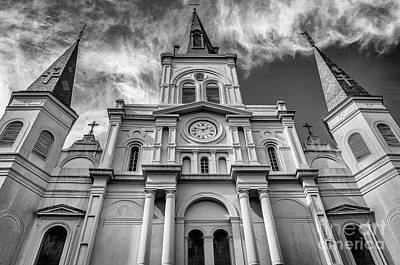 Photograph - St. Louis Cathedral-bw-nola by Kathleen K Parker