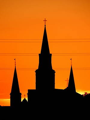 Photograph - St. Louis Cathedral High Voltage Sunset In New Orleans by Michael Hoard