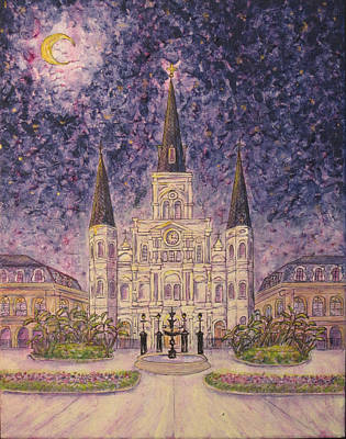 Painting - St. Louis Cathedral Impressionistic Nighttime by Catherine Wilson
