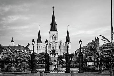 Photograph - St. Louis Cathedral In Black And White by Chrystal Mimbs