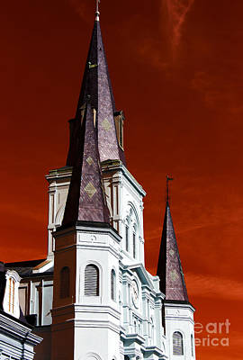 Photograph - St. Louis Cathedral Towers Pop Art by John Rizzuto