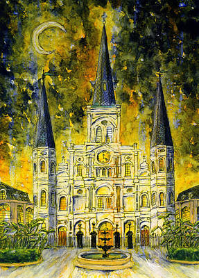 Painting - St. Louis Cathedral With Yellow Night Sky by Catherine Wilson