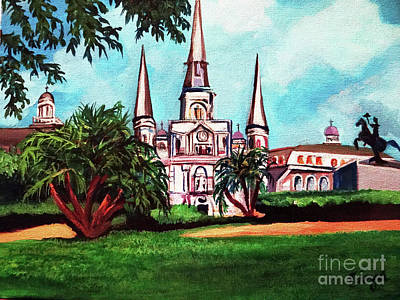 Painting - St. Louis Catheral New Orleans Art by Ecinja Art Works
