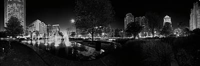 Photograph - St. Louis City Garden Night Bw by David Coblitz