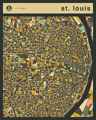 St. Louis Digital Art - St Louis City Map by Jazzberry Blue