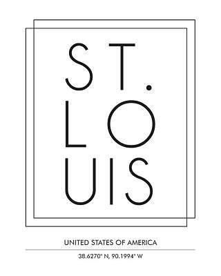 St. Louis Mixed Media - St Louis City Print With Coordinates by Studio Grafiikka