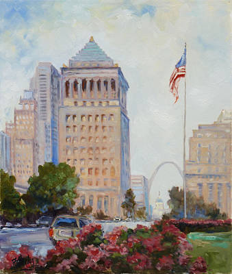 Painting - St. Louis Civil Court Building And Market Street by Irek Szelag
