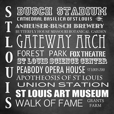 St. Louis Arch Wall Art - Digital Art - St Louis Famous Landmarks by Patricia Lintner
