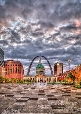 Photograph - St Louis Gateway Arch 2 Old St Louis County Court House Kiener Plaza Market Stre by Reid Callaway