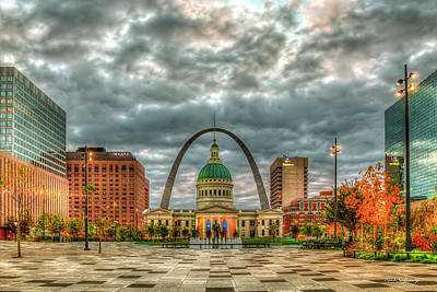 Photograph - St Louis Gateway Arch Kiener Plaza Market Street St Louis Missouri Art by Reid Callaway