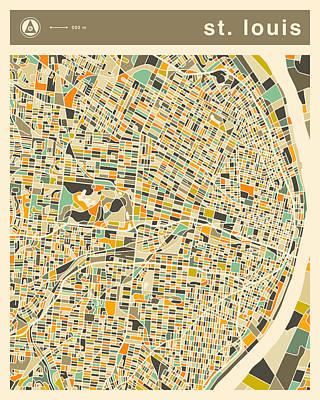 St. Louis Digital Art - St Louis Map 2 by Jazzberry Blue