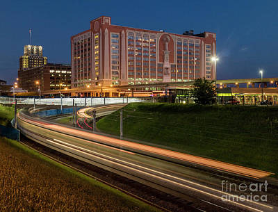 Photograph - St Louis Metro Commuter Train At Night by Garry McMichael