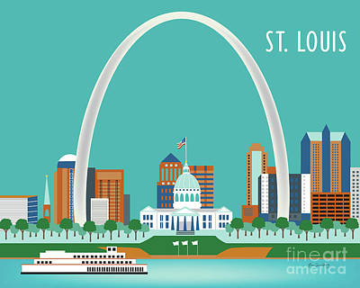 Louis Digital Art - St. Louis Missouri Horizontal Skyline by Karen Young