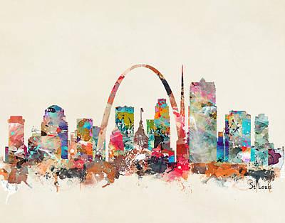 Painting - St Louis Missouri Skyline by Bri B