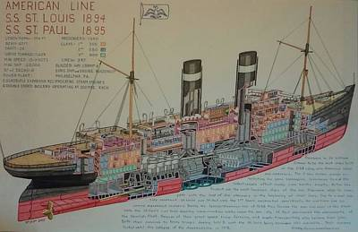 Liner Mixed Media - St Louis / Paul Cutaway by Russell Parmerter